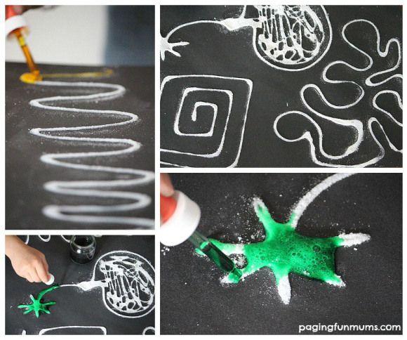 Erupting Salt Art - a super fun mix of science and art!