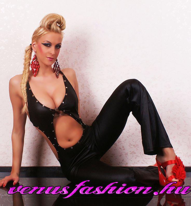 Fekete női ujjatlan bőr hatású overál - Venus fashion női ruha webáruház