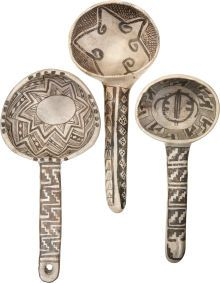 American Indian Art:Pottery, THREE ANASAZI BLACK-ON-WHITE LADLES. c. 1000 - 1200 A.D. ...(Total: 3 Items)
