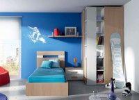Dormitorio juvenil fabricado con frentes en postformado con un radio de 2,5 mm que aporta al mueble un aspecto mucho más moderno y una calidad excepcional.Los elementos que aparecen en la imagen son:-Armario rincon vestidor corredero 113 x 236 x 100.5-Mesita de 2 cajones 60 x 43 x 41-Estante de pared de 120 x 24-Colgador para un estante pared-Cabecero DETALLES para somier de 90.Medidas: 100.5 x 100-Aro bañera RAS para somier de 90. Medidas: 100.5 x 200-Tablero para colchón de 90 x 190