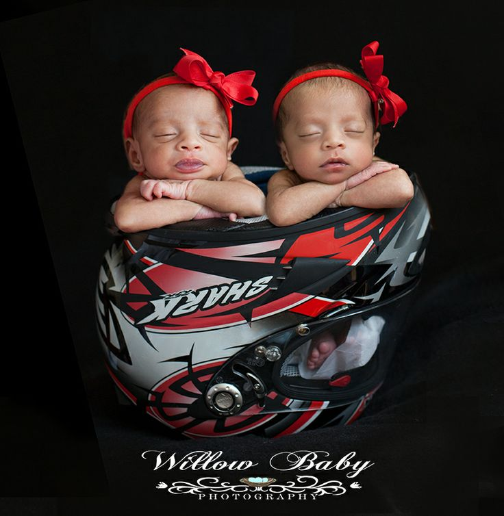 Newborn Photography at Willow Baby Photography Twin baby girls in Harley Davidson helmet
