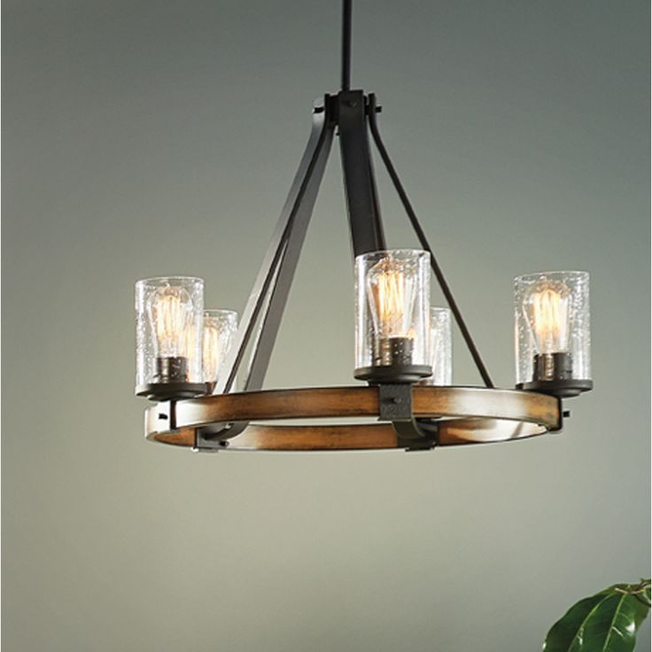 Shop Kichler Lighting Barrington 3 Light Distressed Black And Wood Chandelier At Lowes