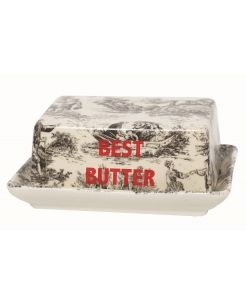 Red Letter Butter Dish. Inspired from the classic Toile de Jouy,