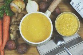 Bakt gulrot- & potetsuppe med hirsebrød