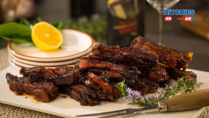 lamb riblettes with honey and cinnamon