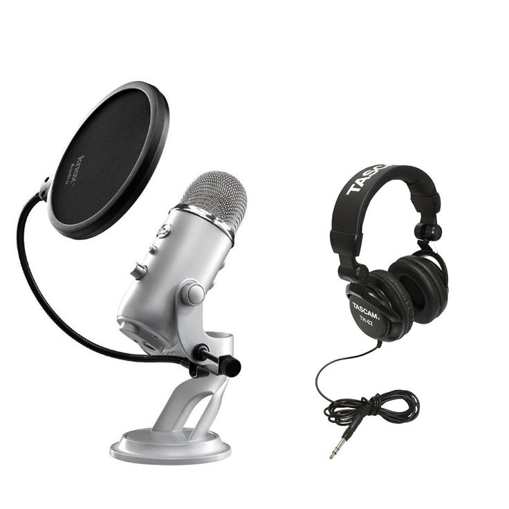 Amazone Best Seller Blue Microphones Yeti USB Multi-Pattern Microphone with Full Size Studio Headphones and Knox Pop Filter (ad)