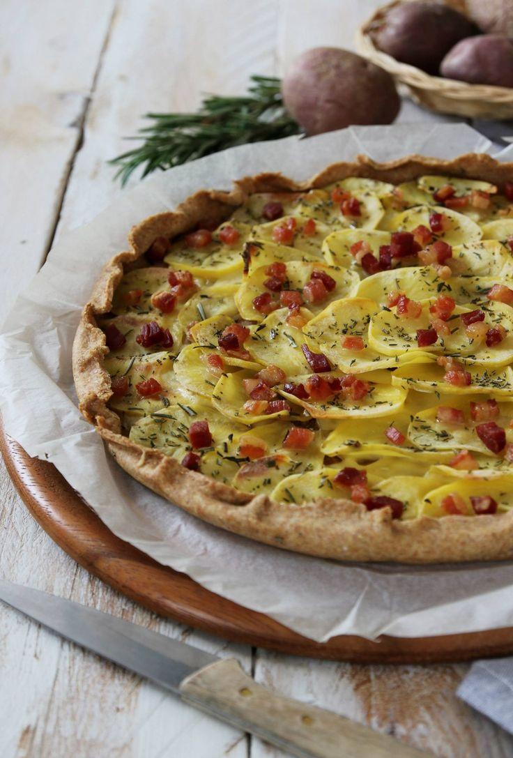 torta salata con briseè integrale, patate, pancetta e rosmarino 3