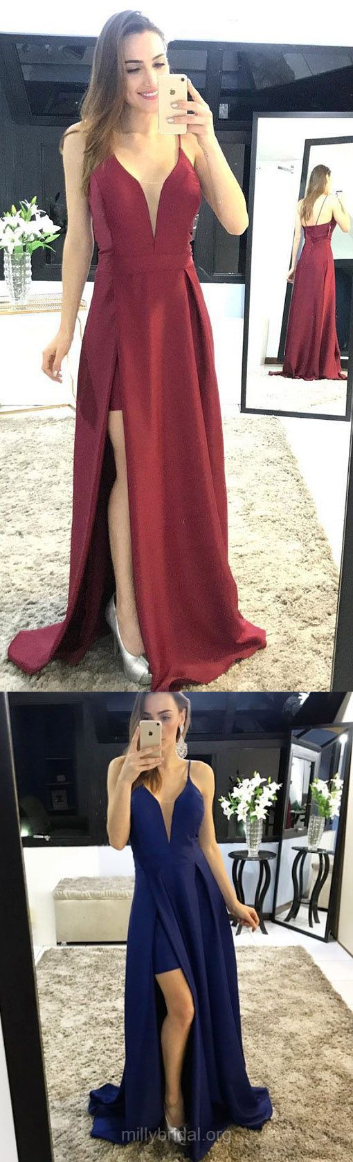 Prom Dresses, Red Prom Dresses, Long Prom Dresses, Prom Dresses For Teens, A-line Prom Dresses V-neck, Satin Prom Dresses Split Front  #formaldresses #promdresses