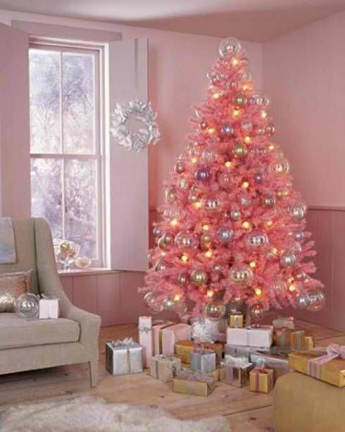 Pink christmas trees decorated... I think it's the best thing i have ever seen.