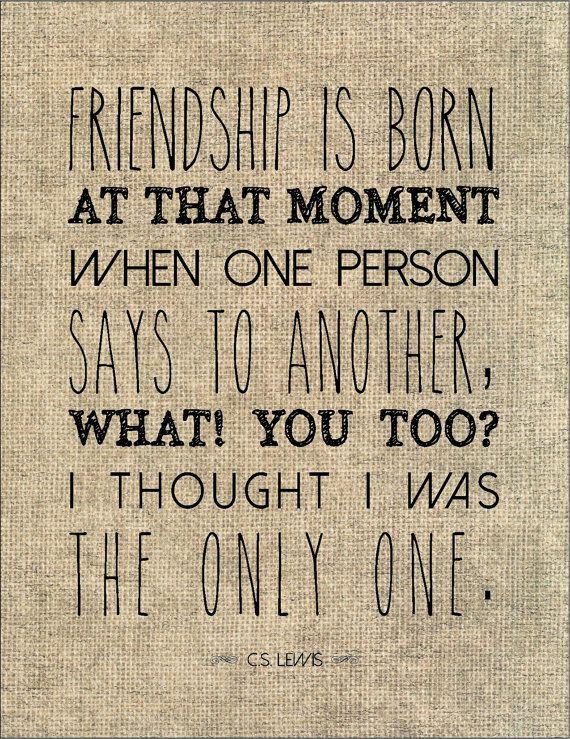 C.S. Lewis friendship literary quote typography by jenniferdare, $10.00