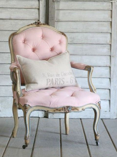 PinkDecor, Ideas, Soft Pink, Shabby Chic, Pink Chairs, Vintage Chair, Bedrooms, Furniture, French Style
