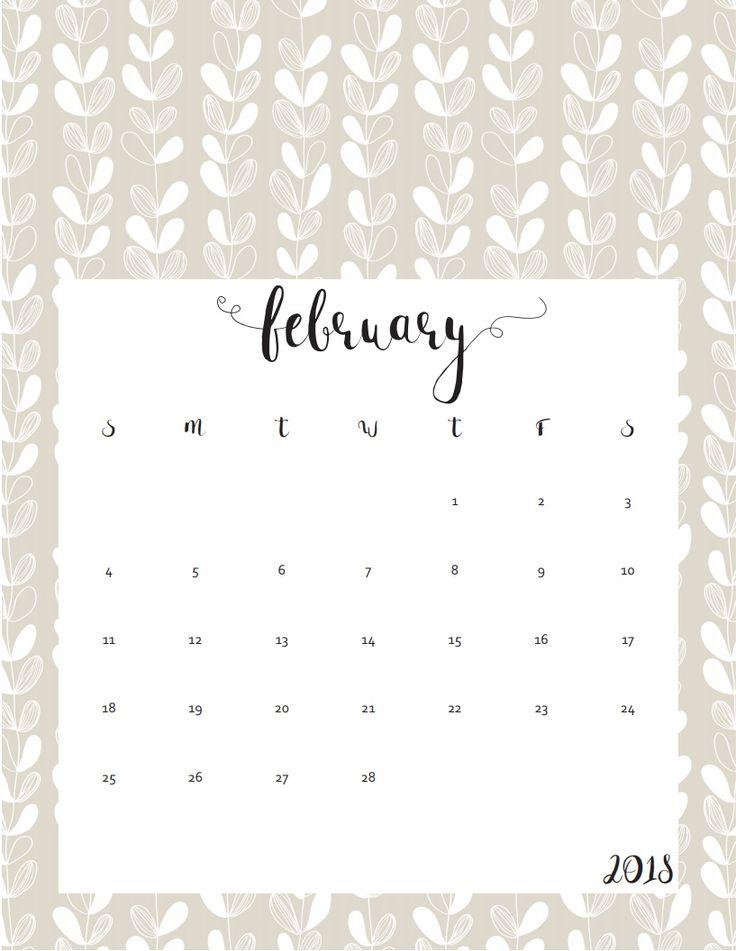 2018 Free Printable Cute February Calendar February Calendar Monthly Calendar 2018 Monthly