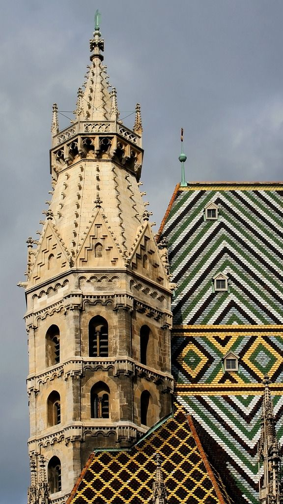 Vienna, Austria - St. Stephen's Cathedral, first building stage began in the early 12th century. Excavations for a heating system in 2000 revealed the cathedral was built on top a cemetary from the 4th century. The glorious roof is covered with 200,000 colorful tiles. Find a Contractor in minutes Free service http://Contractors4you.com Also free leads for contractors