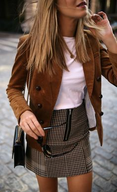 This Corduroy jacket, white short sleeve t-shirt, checked mini skirt, leopard print pumps is a great outfit idea! love it. #brown #brownfashion