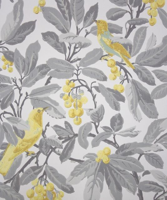 Royal garden wallpaper a large scale wallpaper featuring for Grey and cream wallpaper