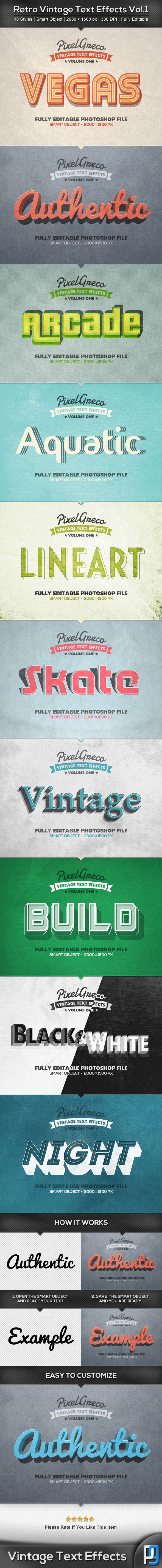 Retro Vintage Text Effects Vol.1 : Check out this great #graphicriver item 'Retro Vintage Text Effects Vol.1' http://graphicriver.net/item/retro-vintage-text-effects-vol1/8935050?ref=25EGY