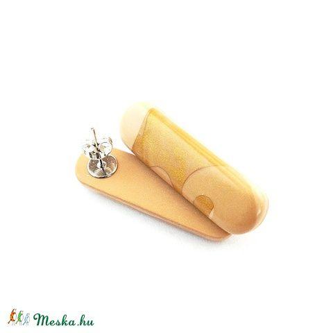 Meska - Beige és Arany körök Calipso bedugós fülbevaló Browny kézművestől