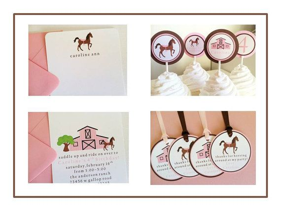 Girl Horse / Barn Cupcake Toppers  Birthday Party by LittleMavens, $1.00
