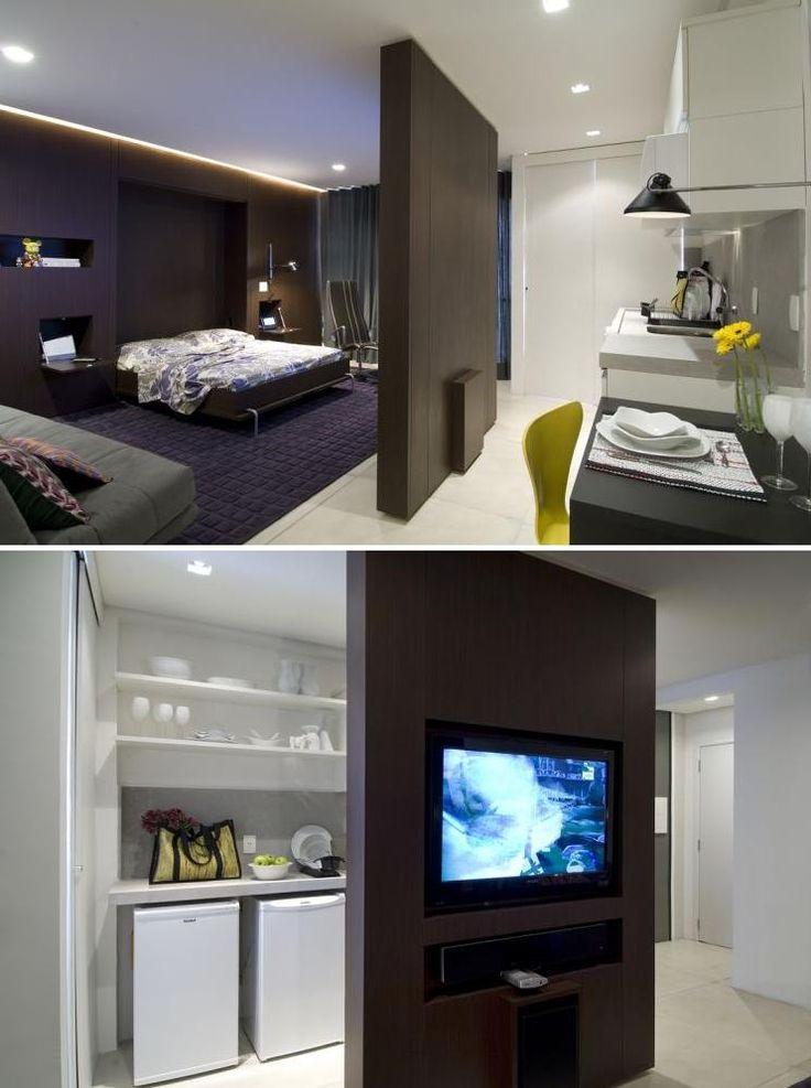 Uma seleção de fotos de apartamentos pequenos e kitinetes.