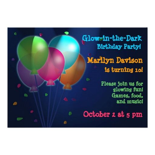 20 best glow in the dark party invitations images on pinterest 23 free printable birthday invitations downloadable balloon glowballoonsbirthday invitationsbirthday party ideasbirthday filmwisefo Image collections