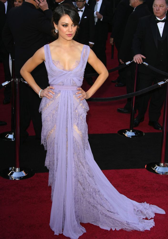 Mila's lavish lavender Elie Saab Couture gown replete with lace was picture perfect.Image: Adriana M. Barraza / WENN.com