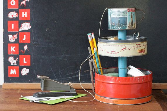 3Tier Desk Organizer Caddy from Vintage Metal Tin by seelamade