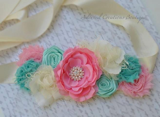 Maternity Sash/Bridal Sash Pink Teal/Mint by AdornedCreations, $35.00
