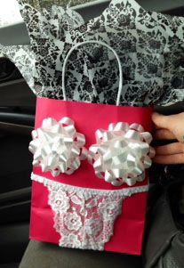 Funny wedding, bridal, bachelorette gift bag idea I did for my sister's lingerie shower party :-P -  For more amazing Finds visit us at http://www.brides-book.com/#!brides-book-outlets/ck9l and remember to join the VIB Club  for amazing offers from all our local vendors.