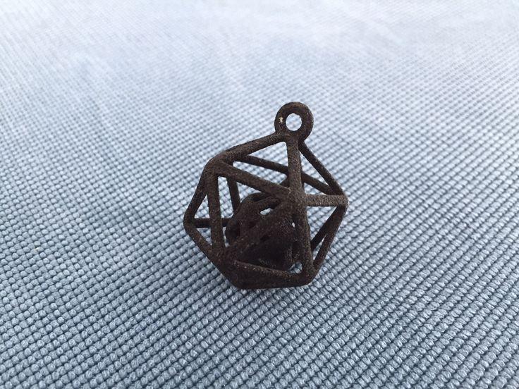 2-fach Ikosaeder Schlüsselanhänger (Material: Gummi; Farbe: Schwarz; Behandlung: Keine)