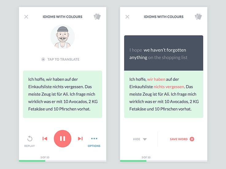 """Idioms with Colours"" Mobile App UI Design"