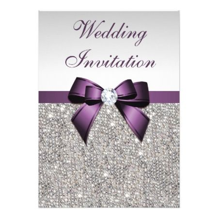 Faux Silver Sequins Diamonds Purple Bow Wedding Card - click/tap to personalize and buy