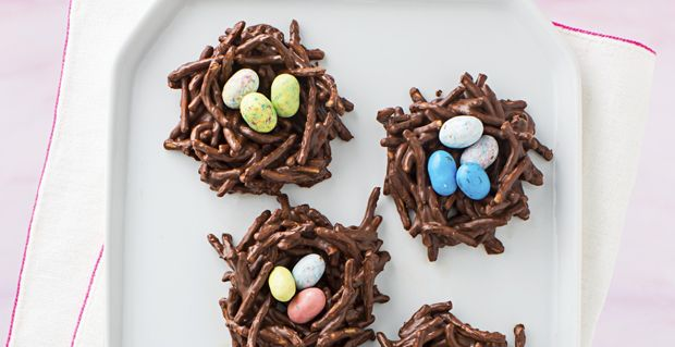 Chocolate Easter Nests - 12 oz. chocolate chips, 3/4c PB, 5c chow mein noodles (10 oz. or 2 cans), candy-coated chocolate eggs; add oats if there's more chocolate mixture at the end