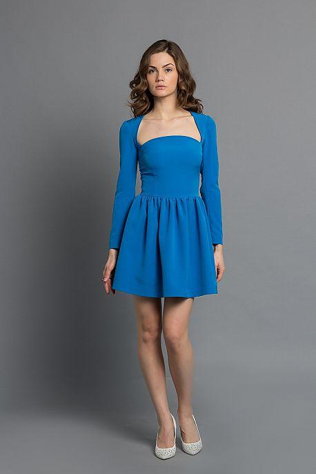 Платье цвета кобальт с длинным рукавом
