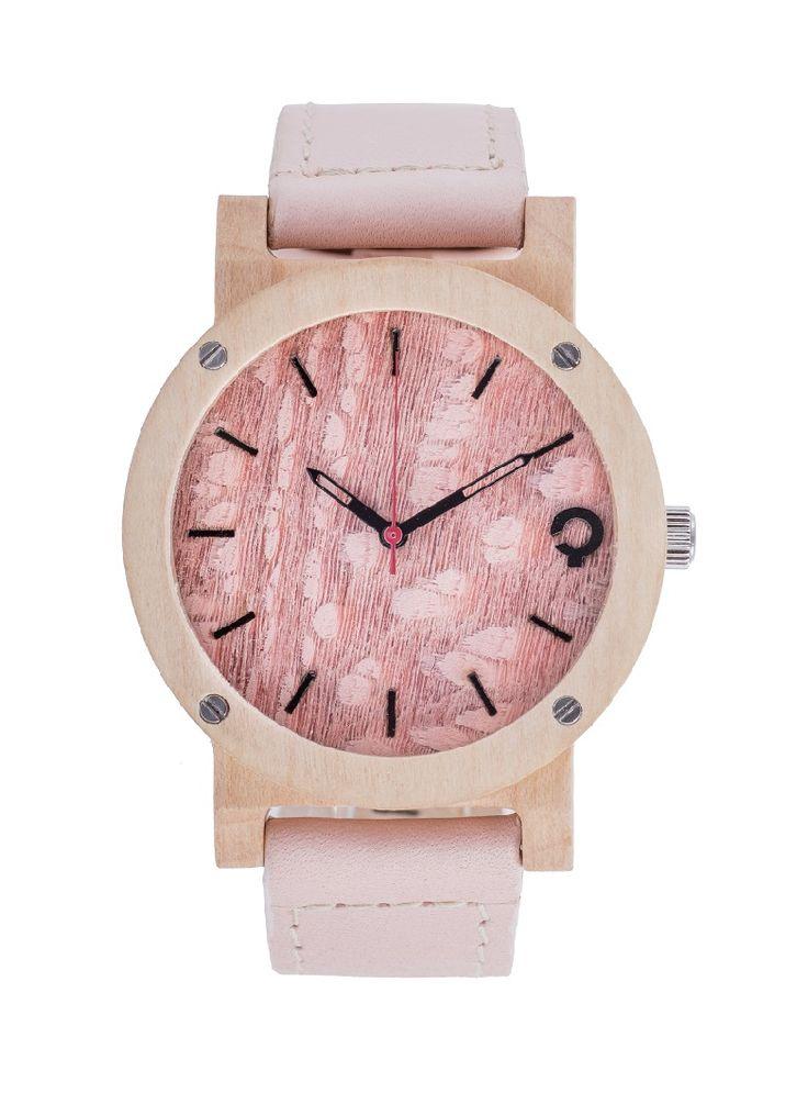Drewniany zegarek Seria Flake; Rose; Klon