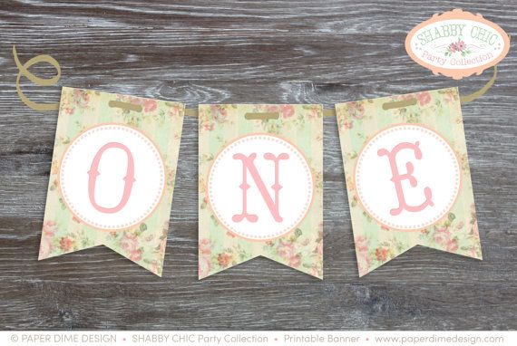 "Printable ""ONE"" Banner Pennants for high chair - Shabby Chic, Vintage, First, Baby, Girl - PDF File, You Print"