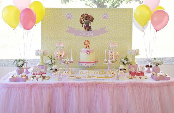 Skye Paw Patrol Party A stunning pink & lemon Skye Paw Patrol Party themed party to celebrate a third birthday.  There are so many beautiful party details to L♥VE.. ♥ Skye Paw Patrol Birthday C…