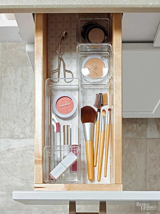 Sort items by general categories, such as cosmetics, nail polishes, and hair bands.