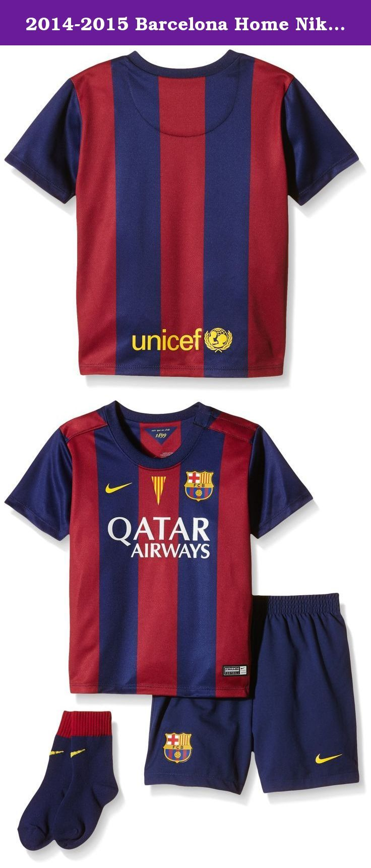 2014-2015 Barcelona Home Nike Baby Kit. Brand new, official Barcelona Home Baby Kit for the 2014 2015 La Liga season. This is the new FC Barcelona football kit which is available to buy online in a full range of kids sizes for ages 0-3 years. This soccer jersey is manufactured by Nike.Add the name and number of your favourite player including Neymar and Lionel Messi for just 12.95, or choose your own custom shirt printing.The Nike FC Barcelona Home Kit 2014 2015 offers a comfortable fit...