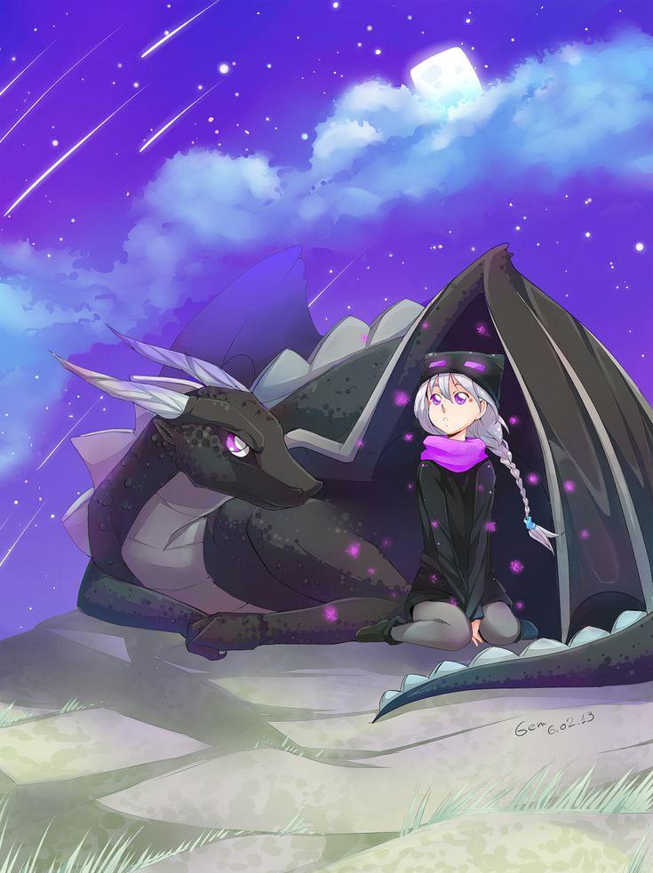 Enderdragon protecting the endergirl. :3 So cute!!!!