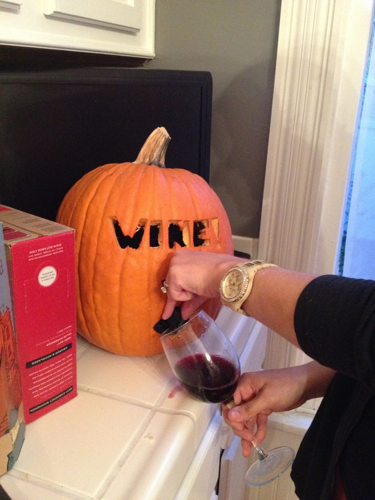 Best pumpkin carving. Box wine in a pumpkin.  Set out on porch w/ cups for parents of trick or treaters