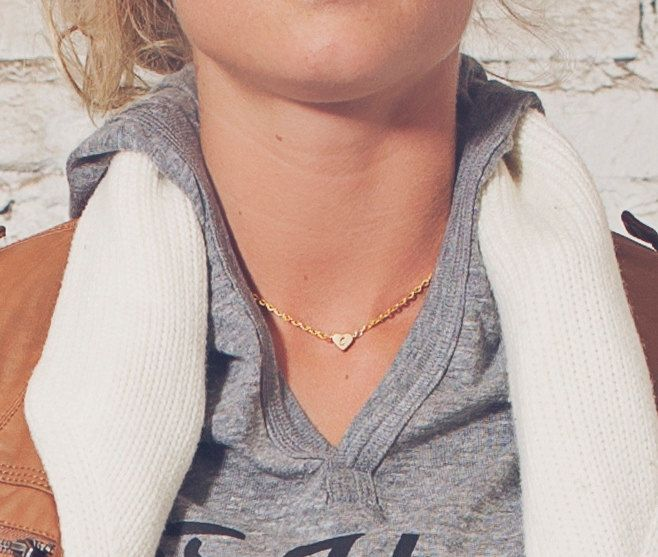 Personalized Gold Heart Necklace..would love my initial B on this...