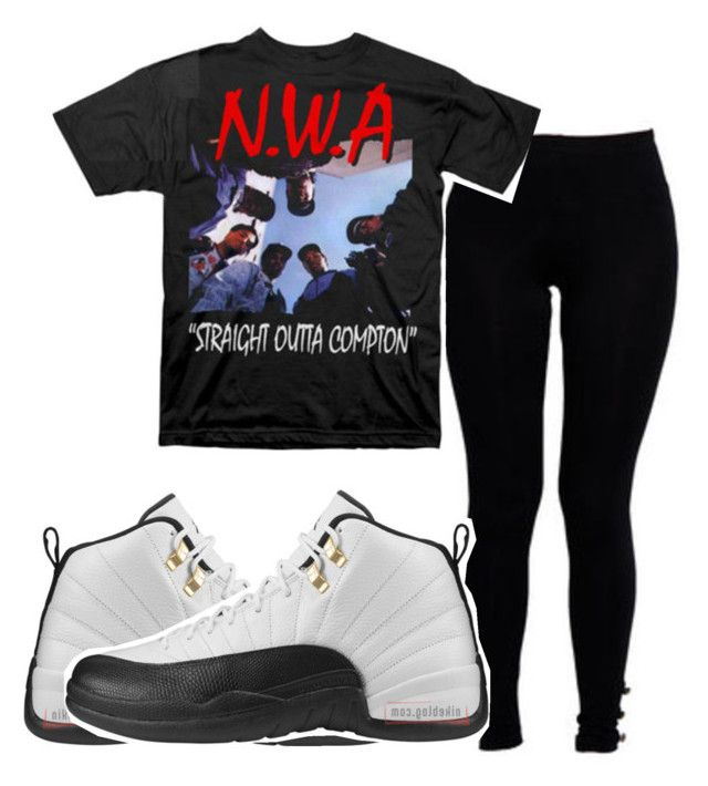 """NWA {coming straight outta Compton}"" by queensimi ❤ liked on Polyvore featuring Boohoo and TAXI"