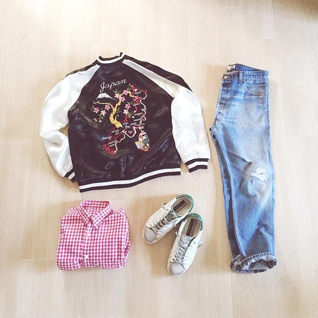 reireo1997いつかのコーデ  #outfit  tops #hosu #スカジャン  tops #porterclassic #ポータークラシック ロールアップシャツ  bottom #redone #リダン デニム 長男  shoes #goldengoose #ゴールデングース  #outfit #outfitgrid #outfitoftheday  #置き画くら部 #ベーシックなスタイル #シンプルコーデ #今日のコーデ #今日の服 #置き画 #ロンハーマン #足元 #足元クラ部 #足元クラブ #置き画クラ部 #30代コーデ #コーディネート #冬春コーデ #fashion #mensfashon