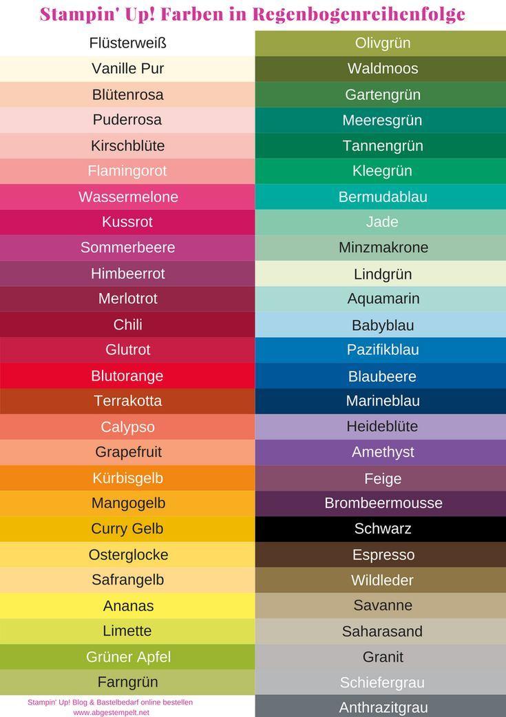 Stampin Up Neue Farben In Regenbogenreihenfolge Farbe