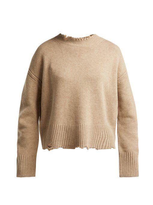 c61a7bffdd42e Distressed crew-neck sweater
