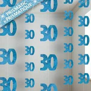 M55334 - 30th Birthday Strings - Pack of 6 Strings Happy 30th Birthday Glitz Blue 6 x 1.5m strings of blue glitter 30's - Pack of 6 . Please note: approx. 14 day delivery