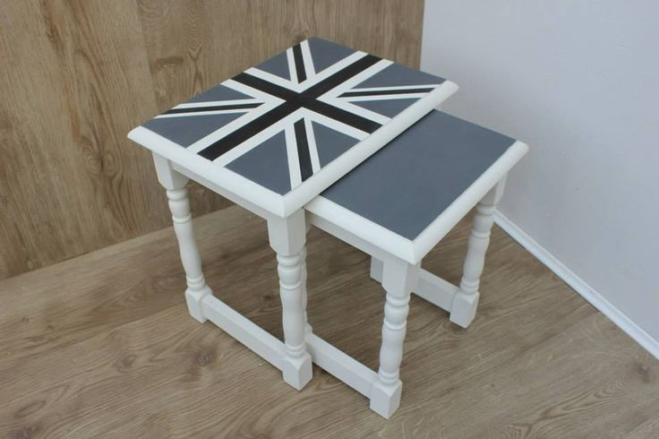 Hand painted Union Jack nest of tables - Annie Sloan - by ~A Lick of Magic~