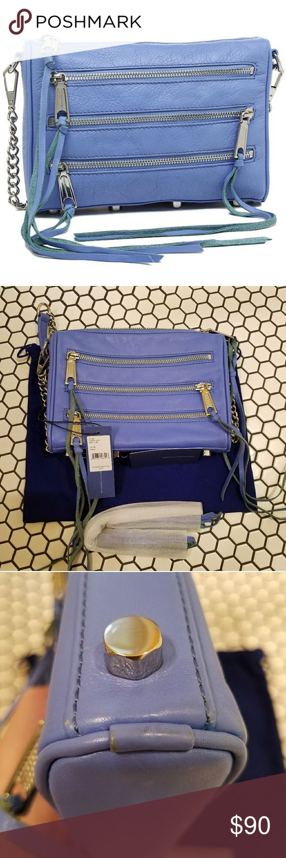 Rebecca Minkoff 5 zip crossbody VGUC, only worn a few times. Minor wear as shown. Interior is perfect. Color is VINCA with silver hardware. Original tag included with authenticity card, RM dust bag, and additional leather ties for the zippers. Purchased from Nordstrom. Rebecca Minkoff Bags Crossbody Bags