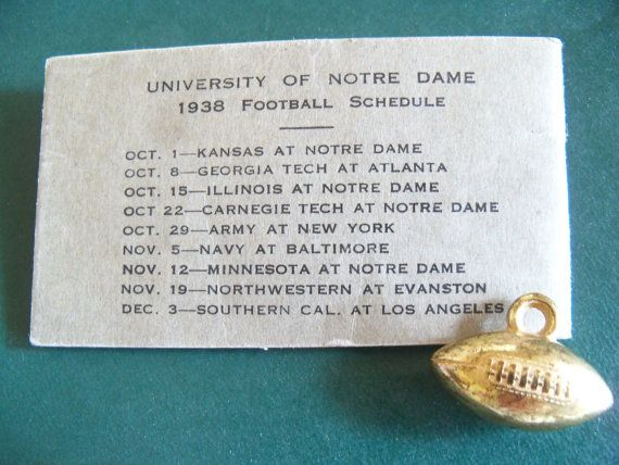Notre Dame 1938 Football Schedule/Election by PollyPickerette