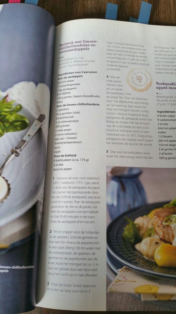 Biefstuk met limoen-chilihollandaise en ovenaardappels